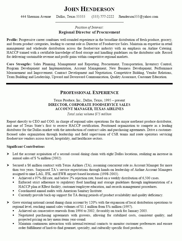 Procurement Resume - Resume Example