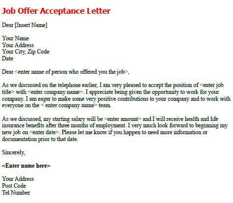 Job Offer Acceptance Letter - write a formal job acceptance letter ...