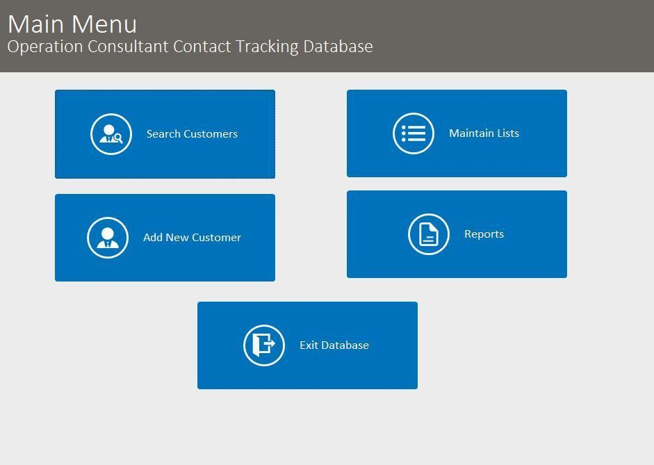Microsoft Access Operations Consultant Contact Tracking Database ...