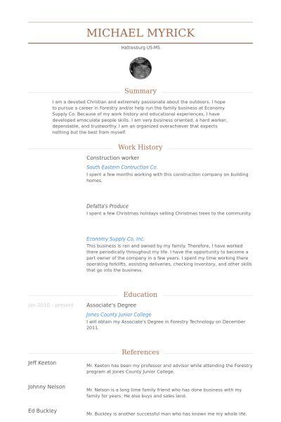 Bauarbeiter CV Beispiel - VisualCV Lebenslauf Muster Datenbank