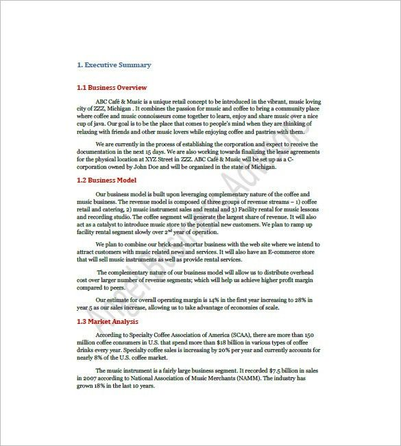 Coffee Shop Business Plan Template – 10+ Free Word, Excel, PDF ...