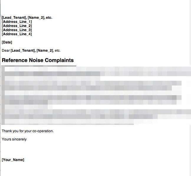 Anti Social Behaviour – Noise Complaint – Letter 1 | GRL Landlord ...