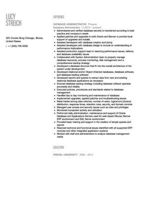 Database Administrator Resume Sample | Velvet Jobs