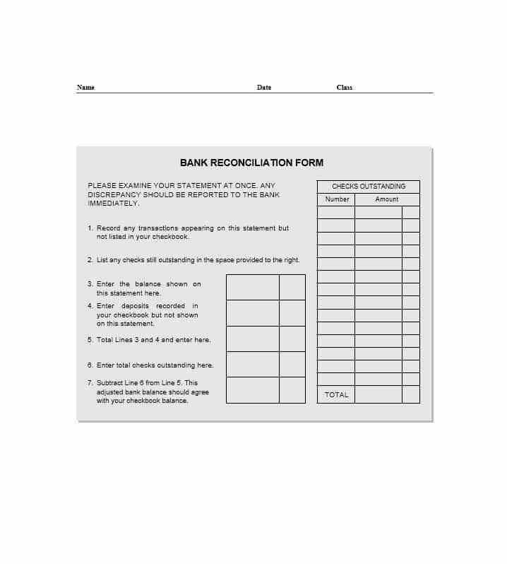 Stunning Blank Bank Reconciliation Template Images - Best Resume ...
