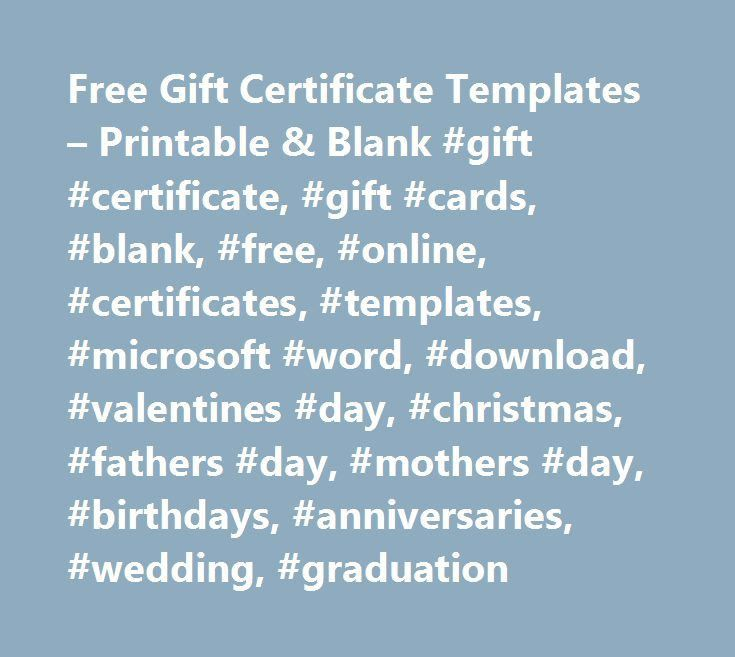 Free Gift Certificate Templates – Printable & Blank #gift ...