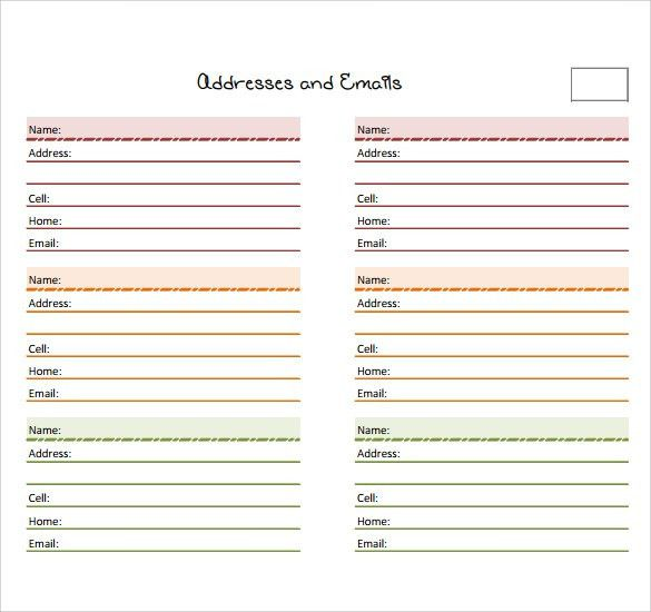Sample Address Book - 9+ Documents In PDF, Word , PSD