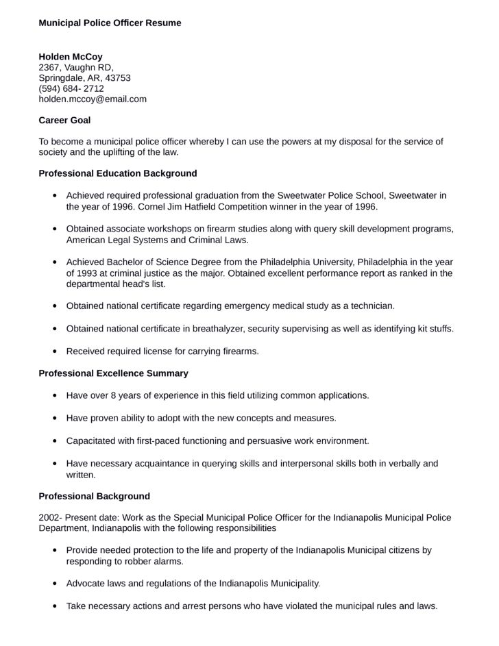 municipal police officer resume project ideas police officer