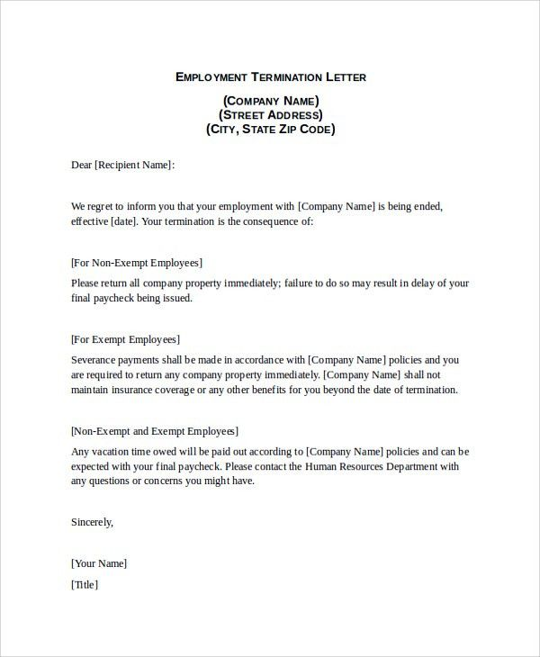 Generic Employee Termination Letter Example For Your Business ...