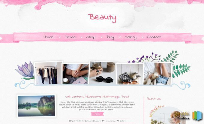 Beauty Blogger Template. Pink color blogspot themes download for ...