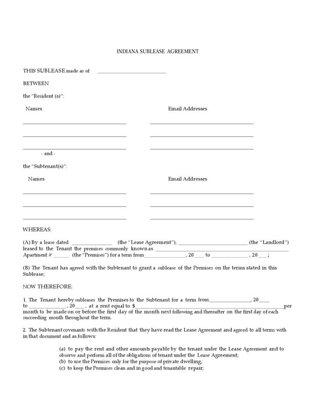 Indiana Sublease Agreement | LegalForms.org