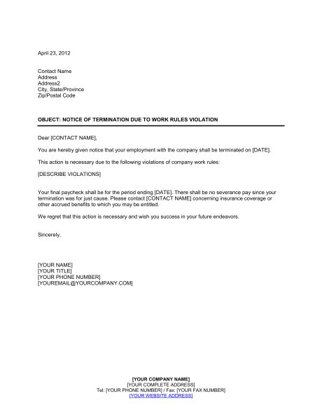 Notice of Termination Work Rules Violation - Template & Sample ...
