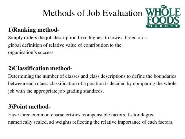 Job evaluation at Whole Foods (Case Study )