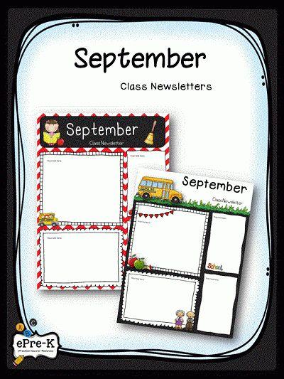 Free September Class Newsletter Templates | Free Preschool ...