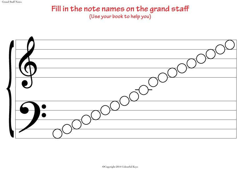 Grand Staff Blank Notes Worksheet for Note Naming Practice ...