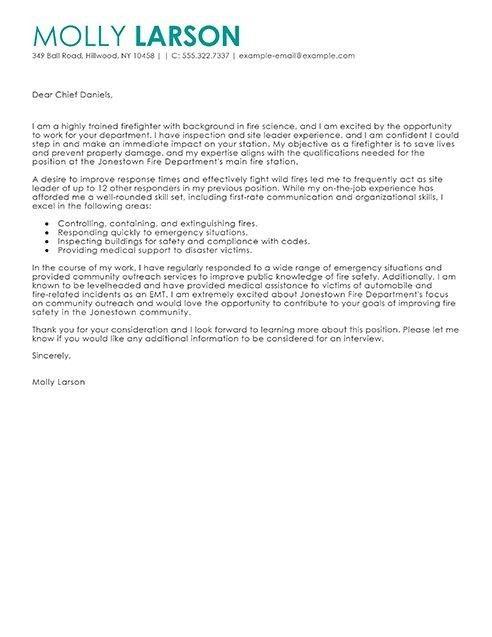 Firefighter Cover Letter Examples | The Best Letter Sample