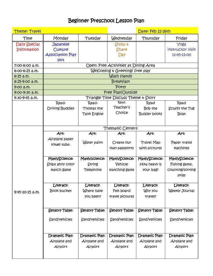 Lesson Plan Examples For Preschool
