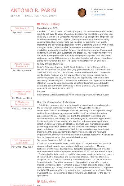 President And Ceo CV Örneği - VisualCV Özgeçmiş Örnekleri Veritabanı