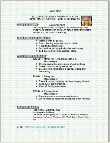 Housekeeper Resume:examples,samples Free edit with word