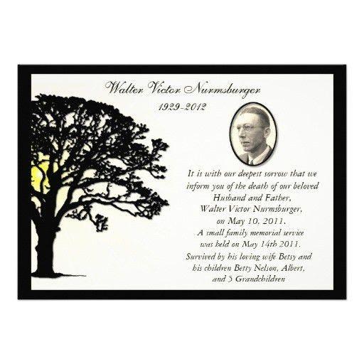 Personalized Death announcement Invitations | CustomInvitations4U.com