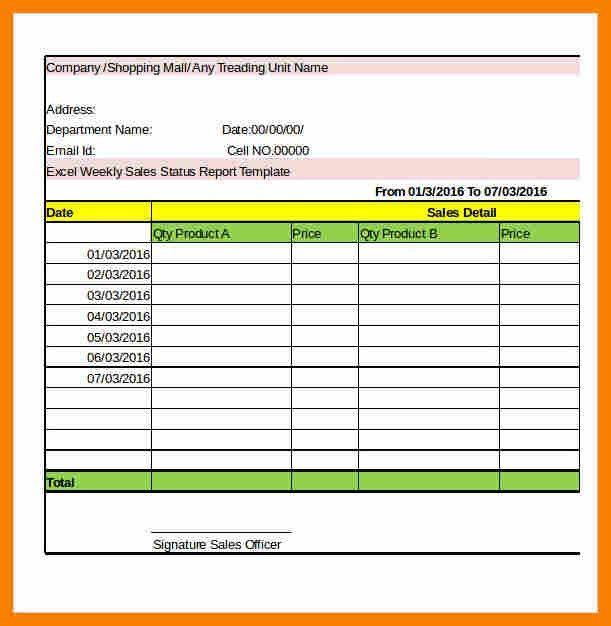 Report Template Excel.Excel Compnay Weekly Sales Status Report ...