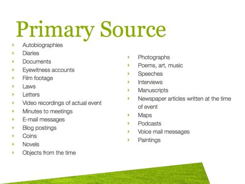 Primary Vs. Secondary Sources | Leestown Middle School Media Center