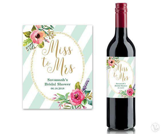 Bridal Shower Wine Labels Printable Wine Bottle Label