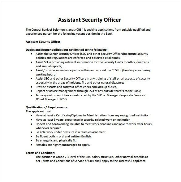 Security Guard Job Description. Security Officers Resume Sample ...