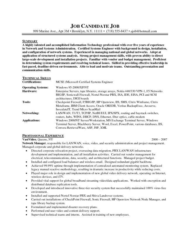 System Administrator Resume Example : Vinodomia