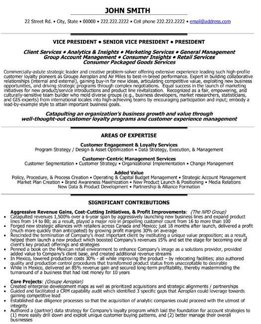 Click Here to Download this Senior Vice President - Loyalty Resume ...