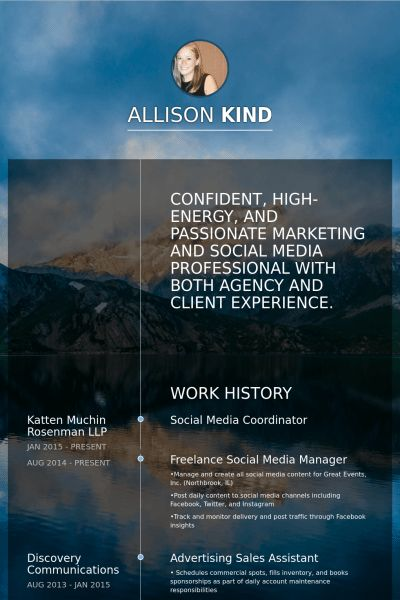 Social Media Coordinator Resume samples - VisualCV resume samples ...