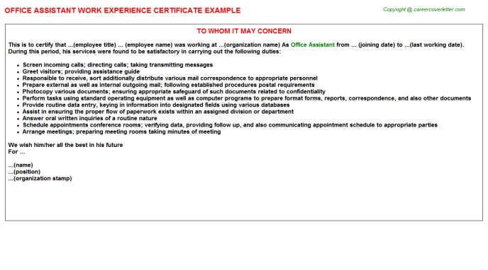 Office Assistant Work Experience Certificate
