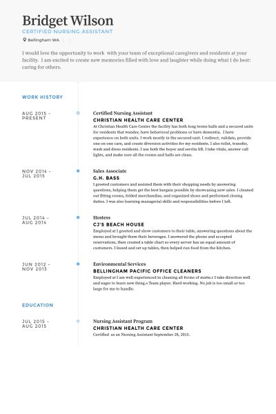 Certified Nursing Assistant Resume samples - VisualCV resume ...