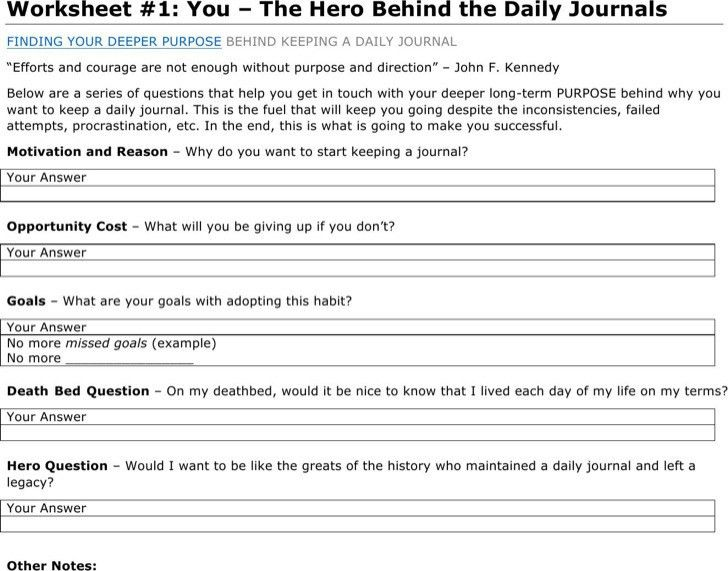 daily journal template word - Template