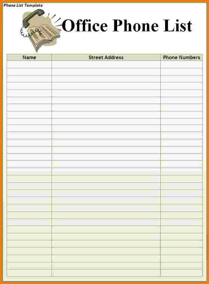 5+ phone list template   Receipt Templates