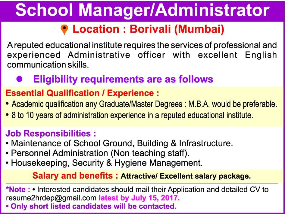Job - School Manager - Mumbai City, Thane - Learning & Library ...