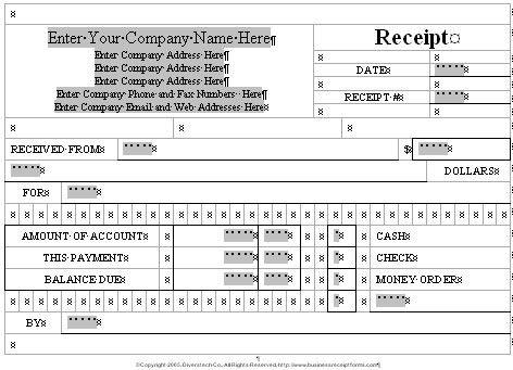 Business Receipt Forms.com