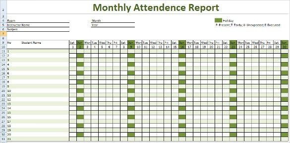 Payroll Report Template. An Employee Monthly Attendance Report Is ...