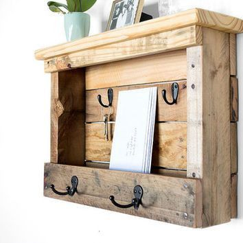 Wood Mail Organizer - Entryway Coat Hooks from ByDadandDaughter