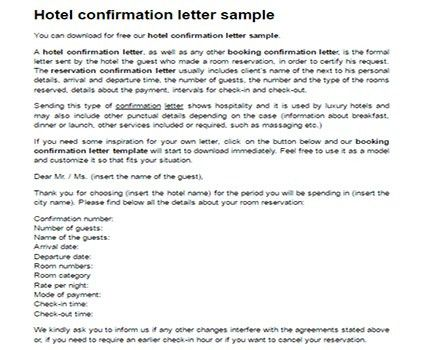 Hotel confirmation letter sample | Confirmation booking template