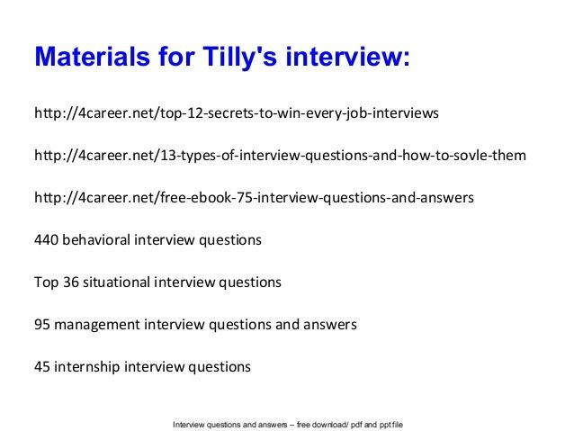 Tilly's interview questions and answers