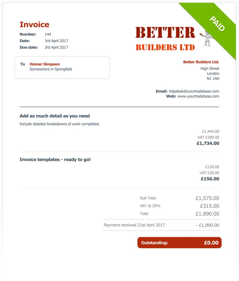 Electricians Invoice Software by YourTradeBase