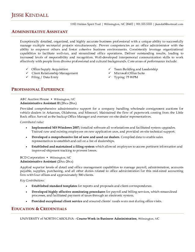 best administrative assistant resume sample resume template for ...