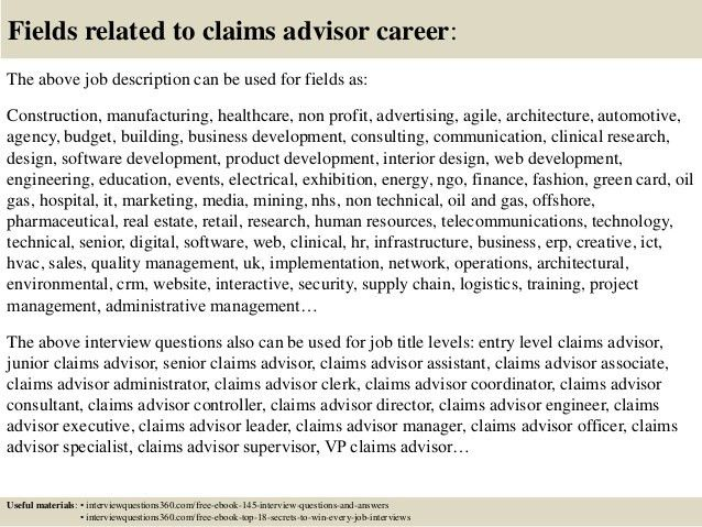 Top 10 claims advisor interview questions and answers
