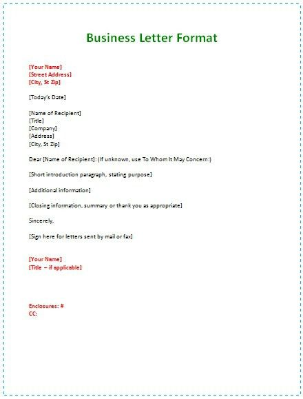 A Business Letter Example | The Letter Sample