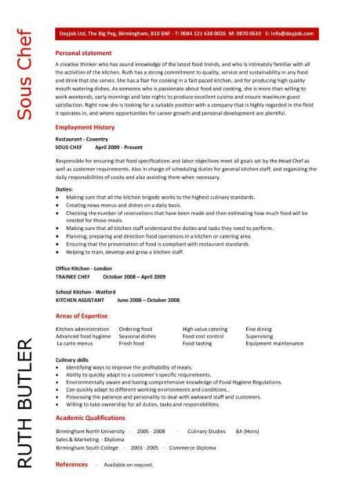 Sample Resume Of A Chef Executive Chef Resume Template Sous Chef ...