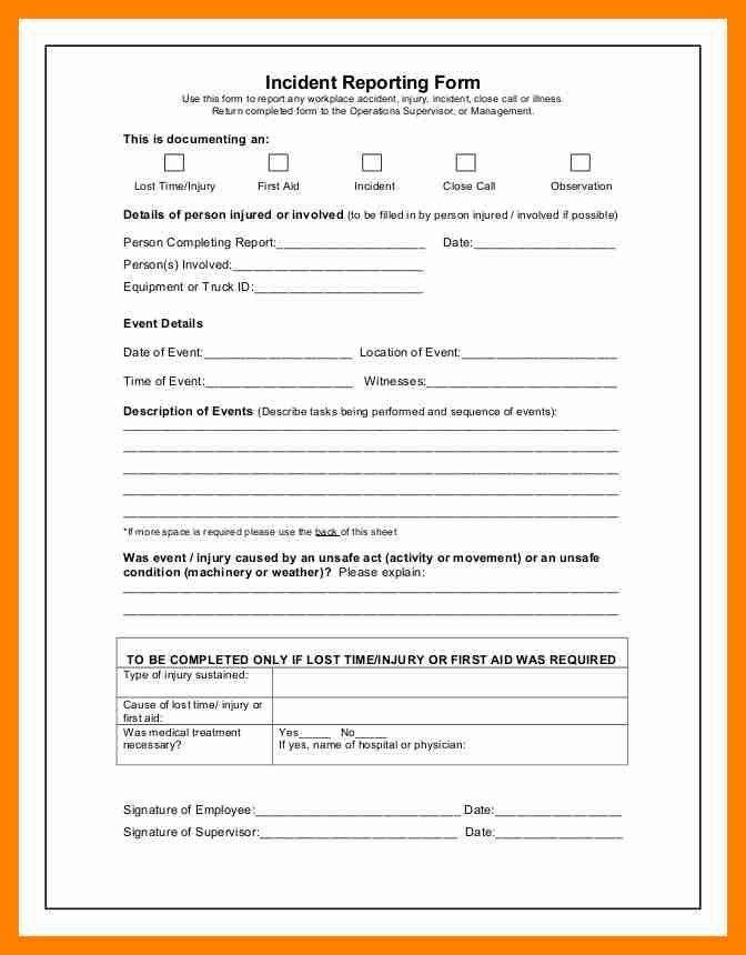 11+ incident report sheet | resumed job