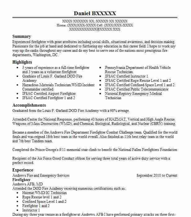 Best Firefighter Resume Example | LiveCareer