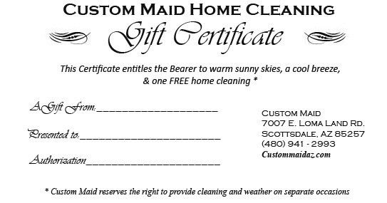 Gift Certificate - All Occasions | Custom Maid House Cleaning of ...