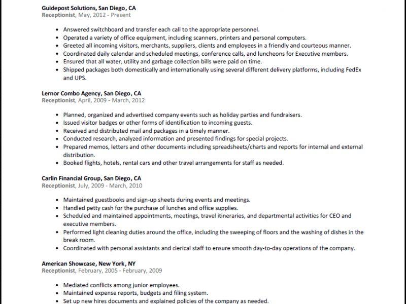 resume for receptionist unforgettable receptionist resume