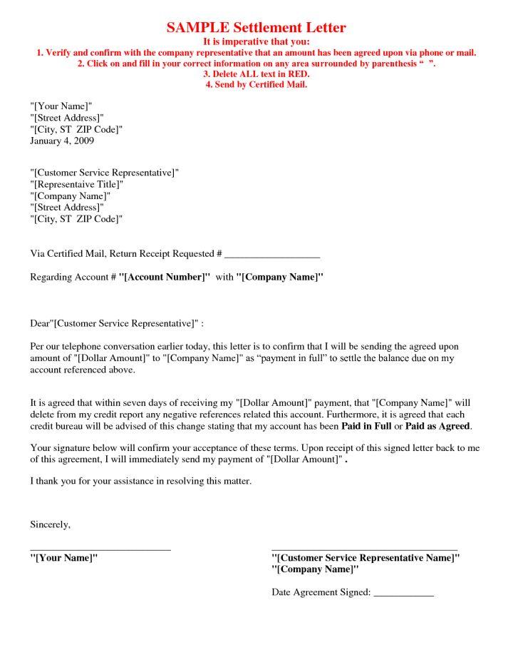 Debt Settlement Sample Letter Uk | Docoments Ojazlink